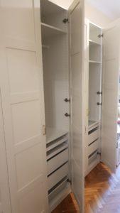 montáž vybavení šatní skříně IKEA
